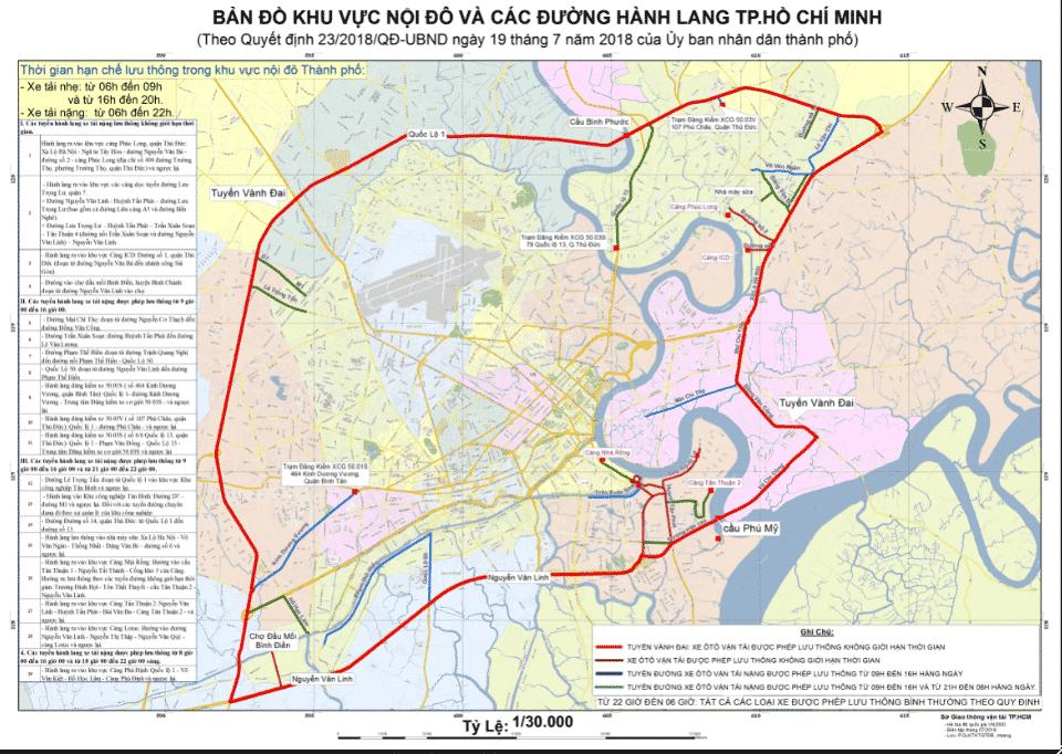 Bản đồ vành đai và các tuyến hành lang của TPHCM