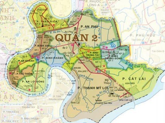 Bản đồ vị trí địa lý quận 2