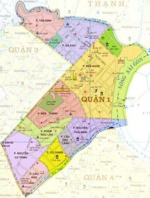 Bảng đồ vị trí quận 1, tphcm