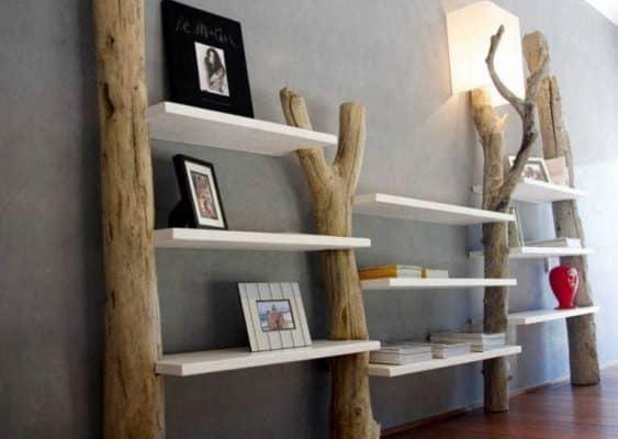Làm kệ sách bằng cây gỗ