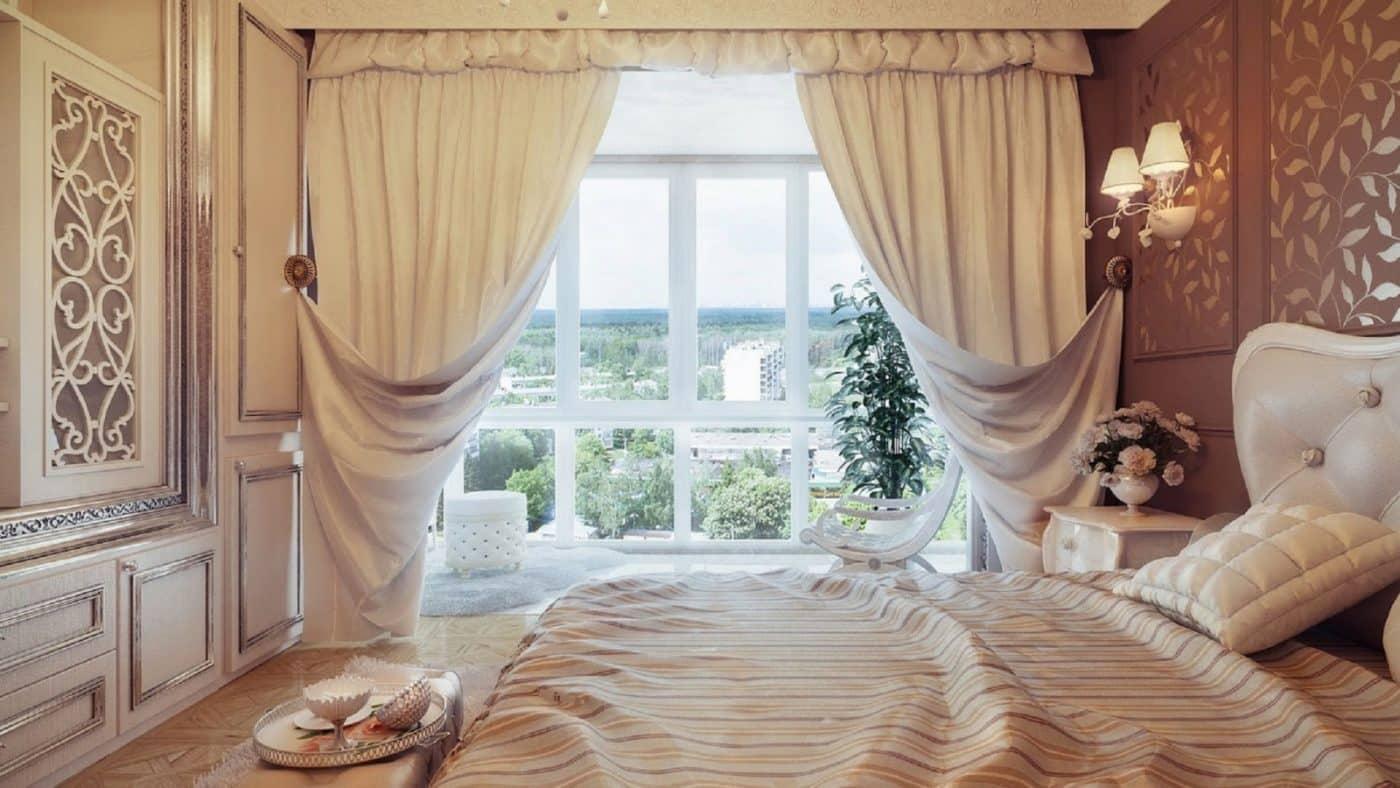 Rèm và cửa sổ trong phòng ngủ