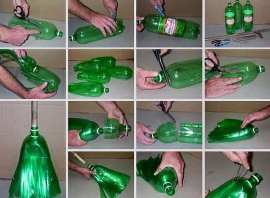 Cách tái chế vỏ chai làm chổi quét nhà
