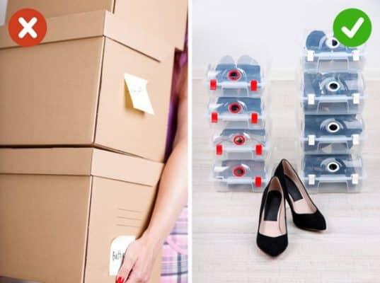 Dùng hộp đựng giày để sắp xếp giày dép gọn gàng hơn