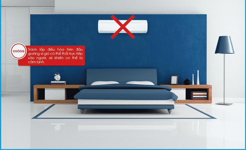 Vị trí không nên lắp đặt máy lạnh trong phòng ngủ